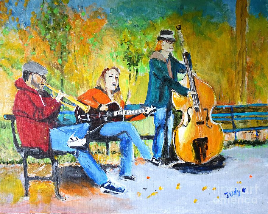 Park Painting - Park Serenade by Judy Kay