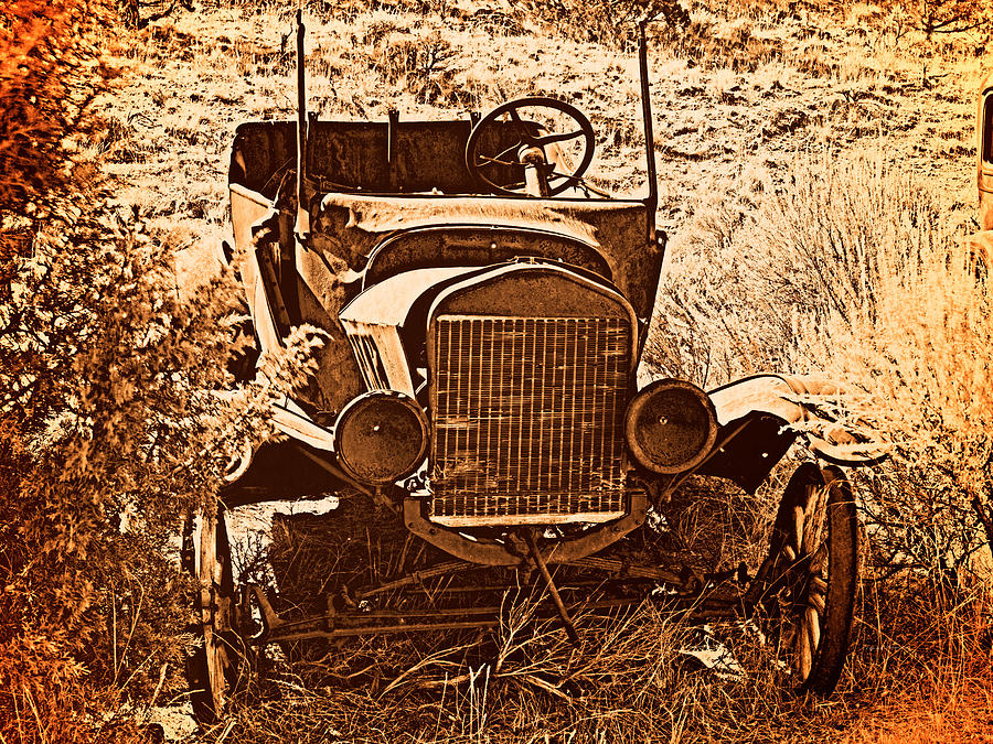 Aged Photograph - Parked 2 by Leland D Howard