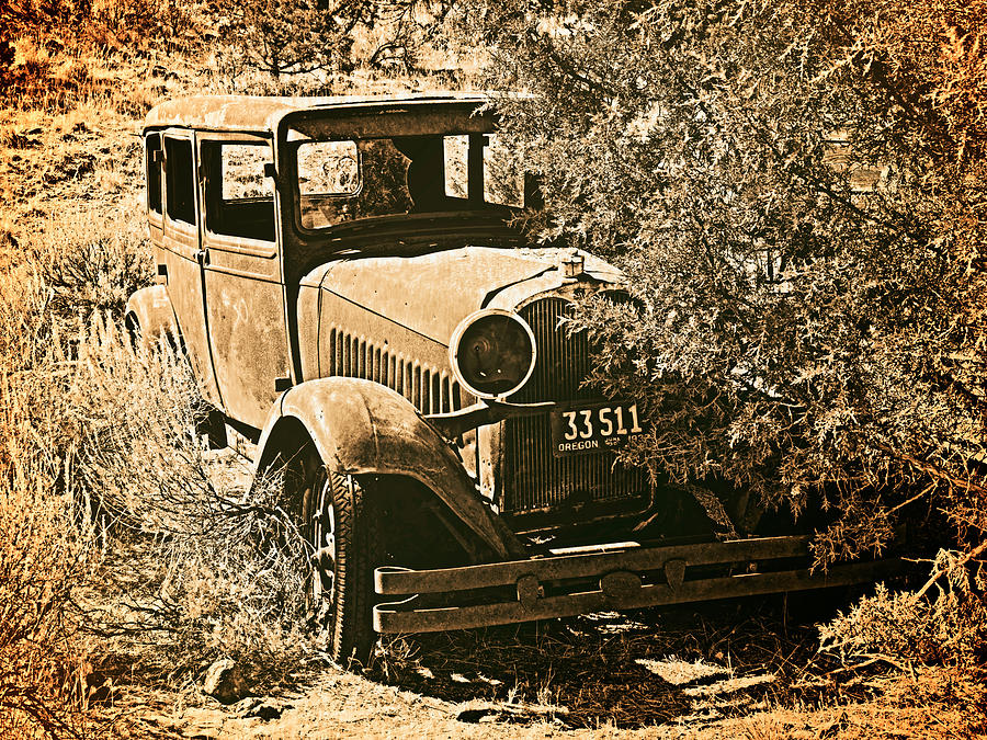 Aged Photograph - Parked 3 by Leland D Howard