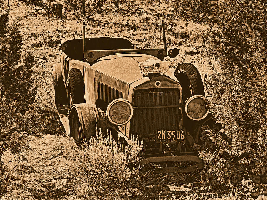 Aged Photograph - Parked by Leland D Howard