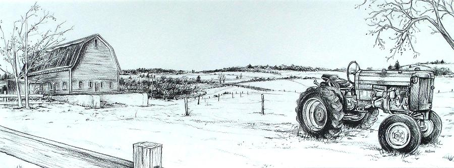 Tractor Drawing - Parked Tractor  by Scott Nelson