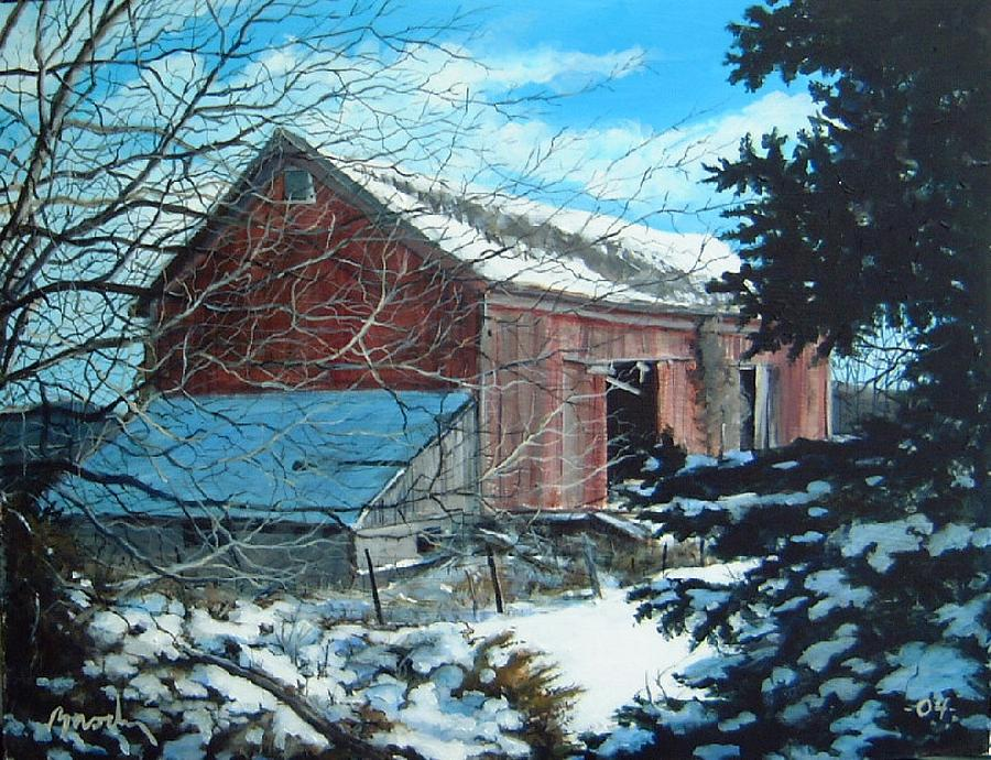 Barn Painting - Parker Road Barn by William  Brody