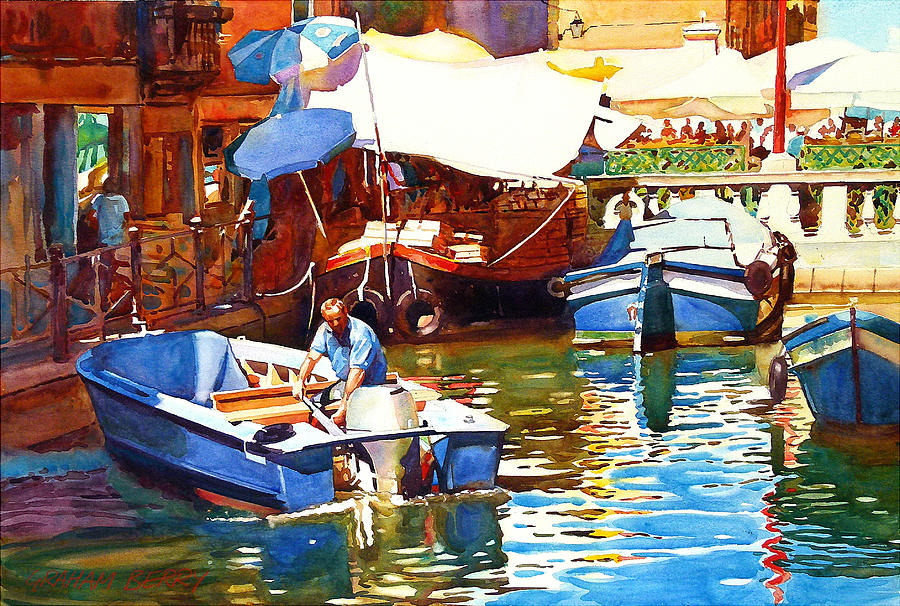 Boats Photograph - Parking In Venice by Graham Berry