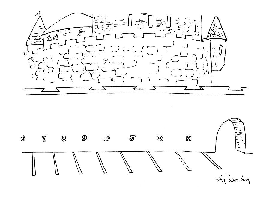 Parking Lot Outside Of A Castle. The Parking Drawing by Mike Twohy