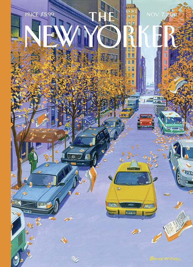 Parking Tickets Falling Off Trees Similar Leaves Painting by Bruce McCall