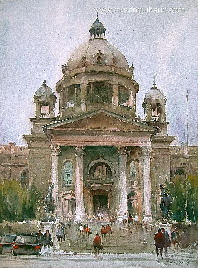 Cityscape Painting - Parliament-belgrade by Dusan Djukaric