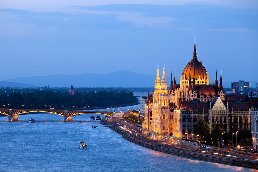 Budapest Photograph - Parliament Building In Budapest At Evening by Artur Bogacki