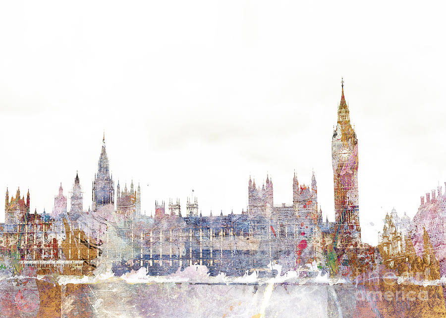 London Digital Art - Parliament Color Splash by MGL Meiklejohn Graphics Licensing