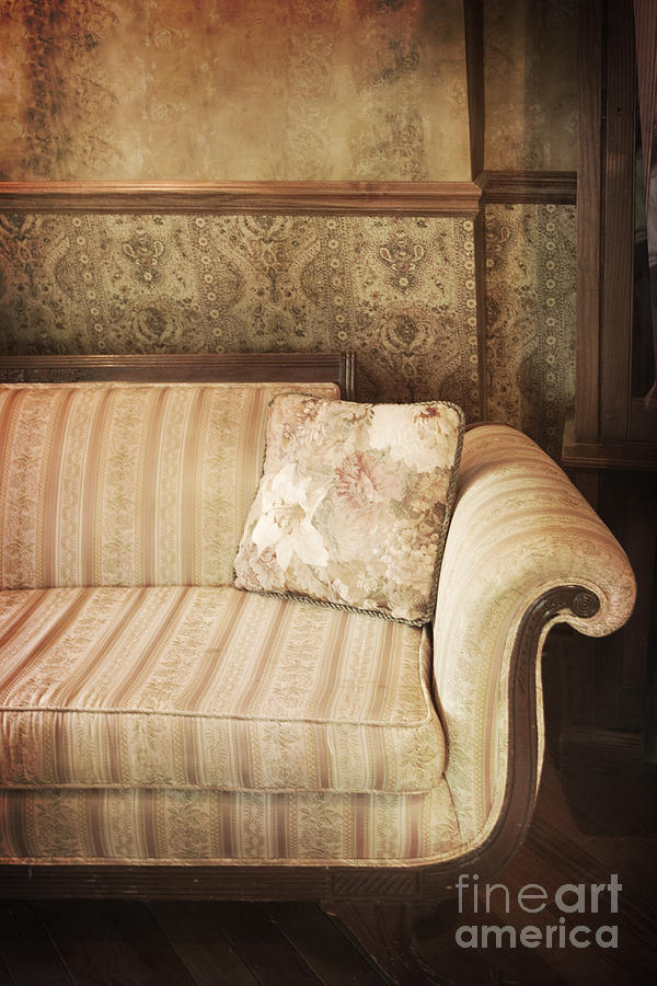 Sofa; Couch; Ornate; Curve; Pillow; Wallpaper; Interior; Still Life; Living Room; Sitting Room; Formal; Victorian; Seating; Indoors; Room; Classic; Furniture; Nobody; Empty; Antique Photograph - Parlor Seat by Margie Hurwich