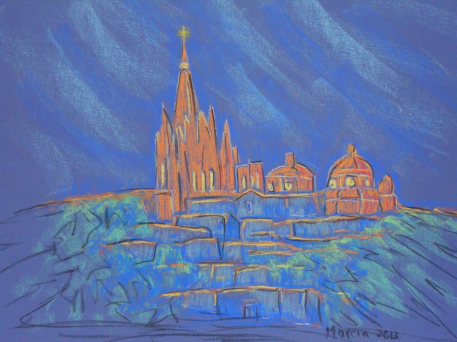 San Miguel De Allende Pastel - Parroquia From Below by Marcia Meade