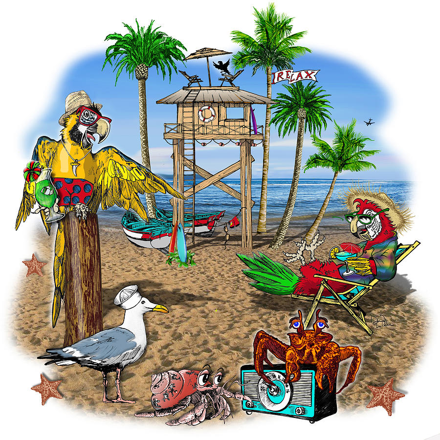 Parrot Digital Art - Parrot Beach Party by Doug LaRue