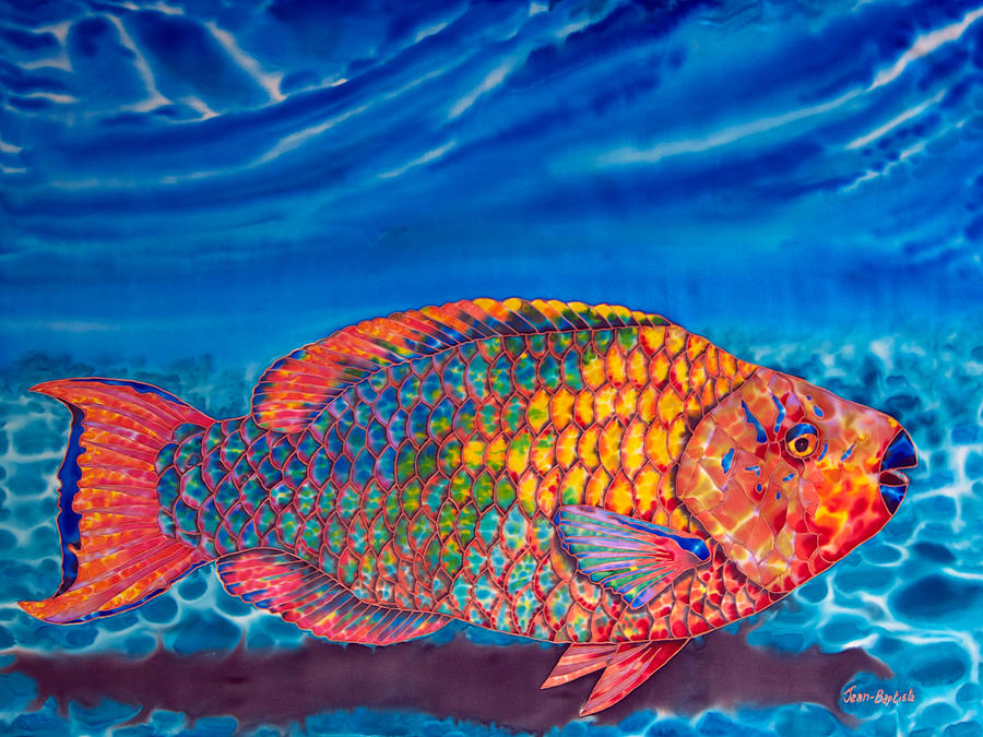 Reef Fish Painting - Parrot Fish by Daniel Jean-Baptiste