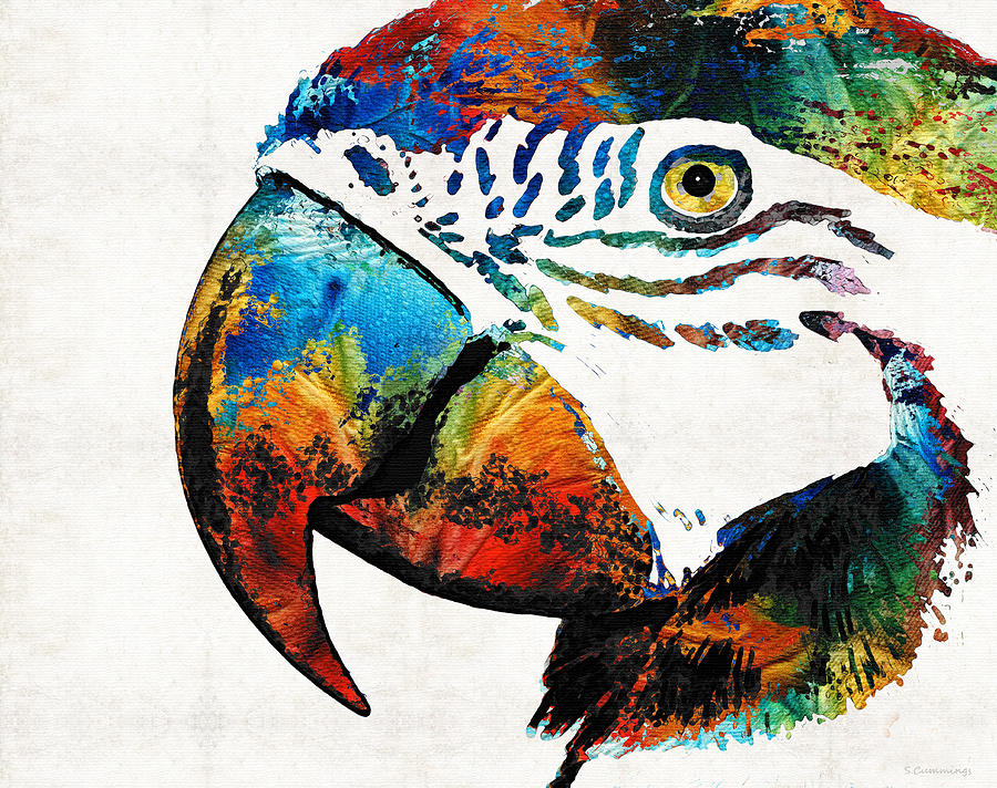Parrot Painting - Parrot Head Art By Sharon Cummings by Sharon Cummings