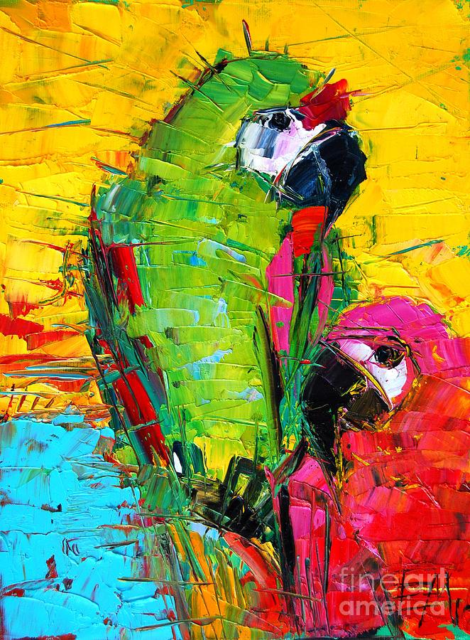 Mona Painting - Parrot Lovers by Mona Edulesco