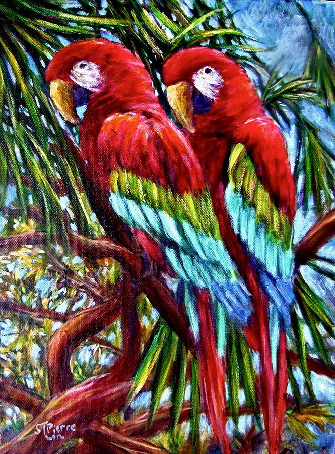 Parrots Painting - Parrot Pals by Sebastian Pierre