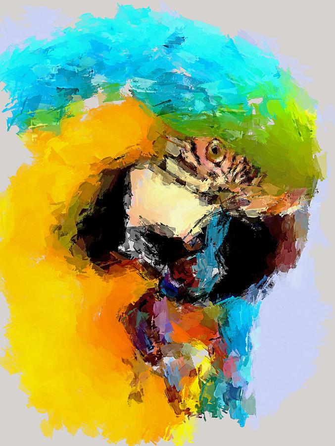 Bird Digital Art - Parrot Thinking... by Yury Malkov