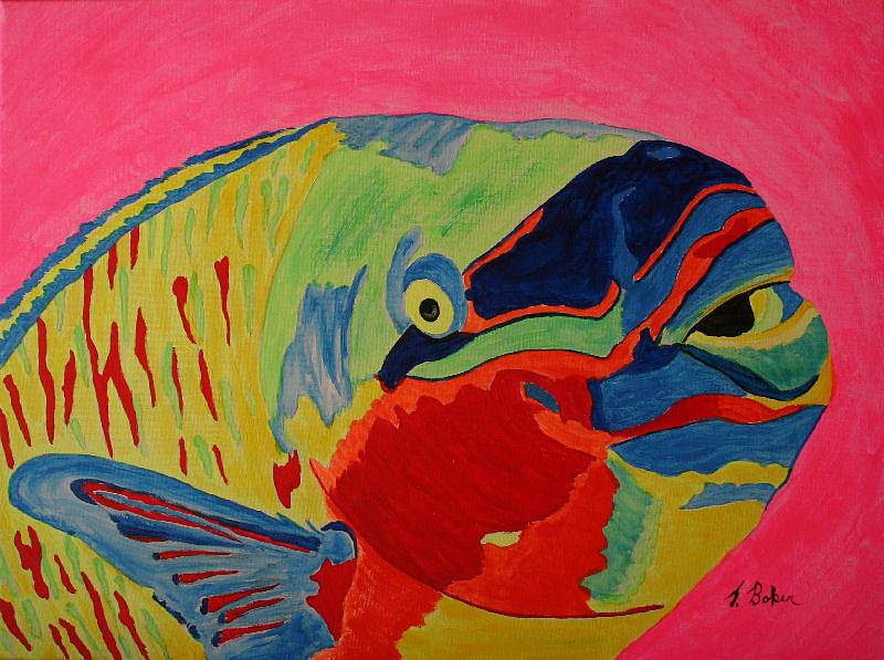 Parrotfish Painting - Parrotfish by Tony Baker