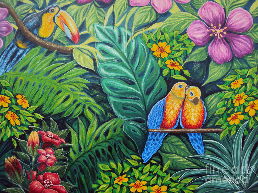 Original Painting Oil On Canvas Painting - Parrots Jungle Love Scene by Drinka Mercep