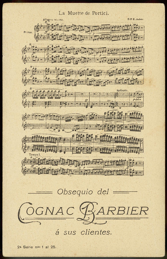 Auber Drawing - Part Of The Score Of Aubers  Opera La by Mary Evans Picture Library