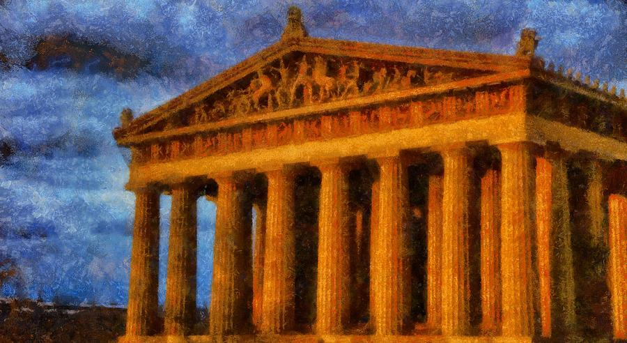The Parthenon Painting - Parthenon On A Stormy Day by Dan Sproul