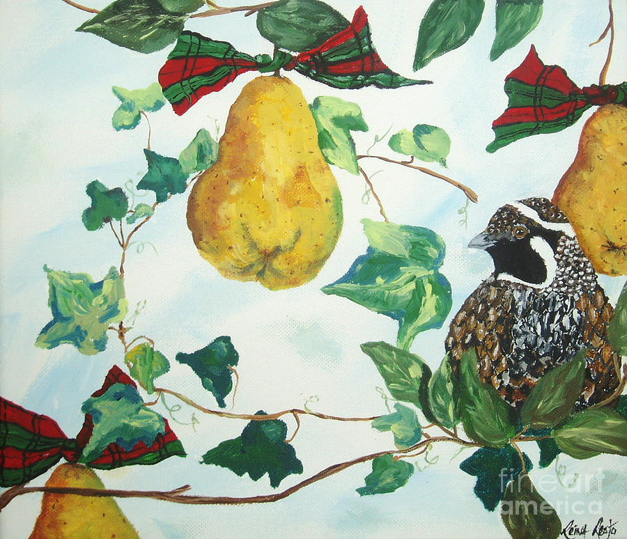Tree Painting - Partridge And  Pears  by Reina Resto