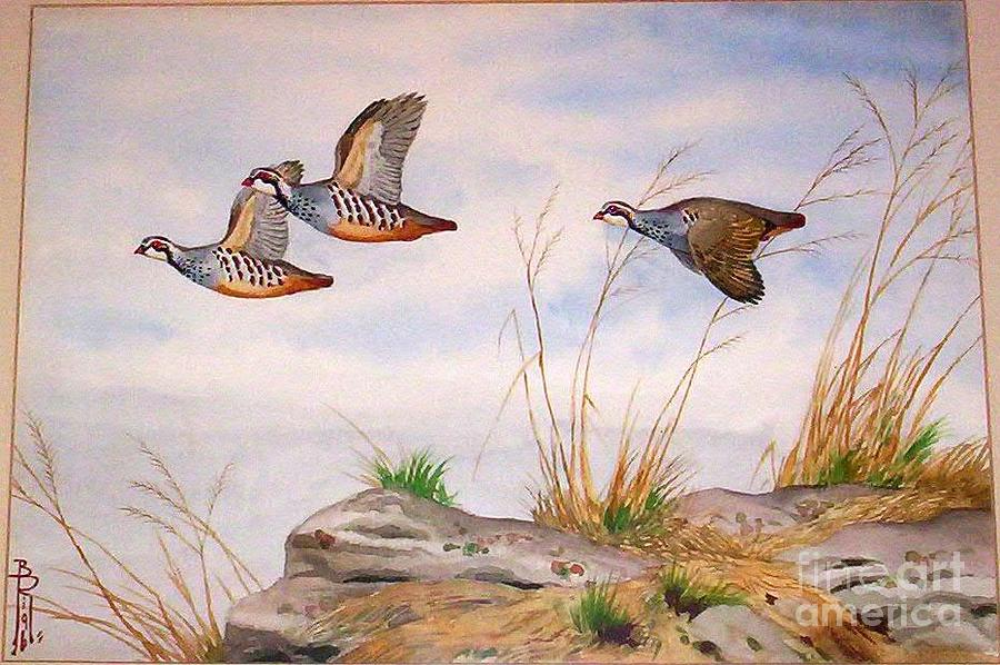 Russia Painting - Partridges In Flight by Boris Riab