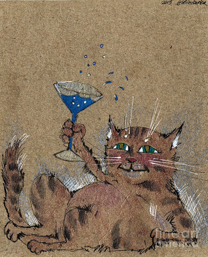 Cat Drawing - Party Cat by Angel  Tarantella