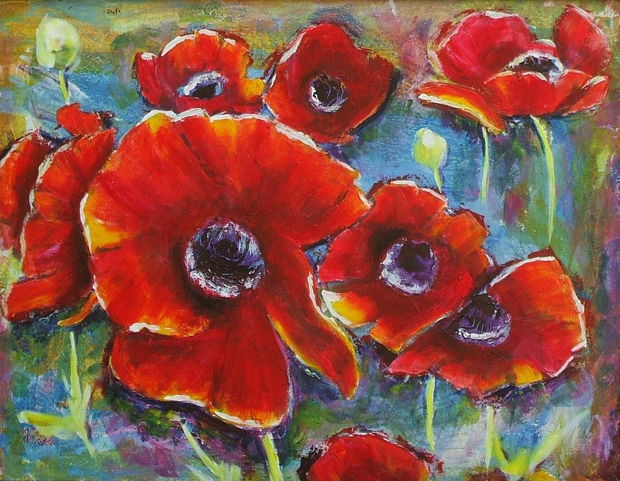 Poppy Painting - Party Of 8 by Sheila Diemert