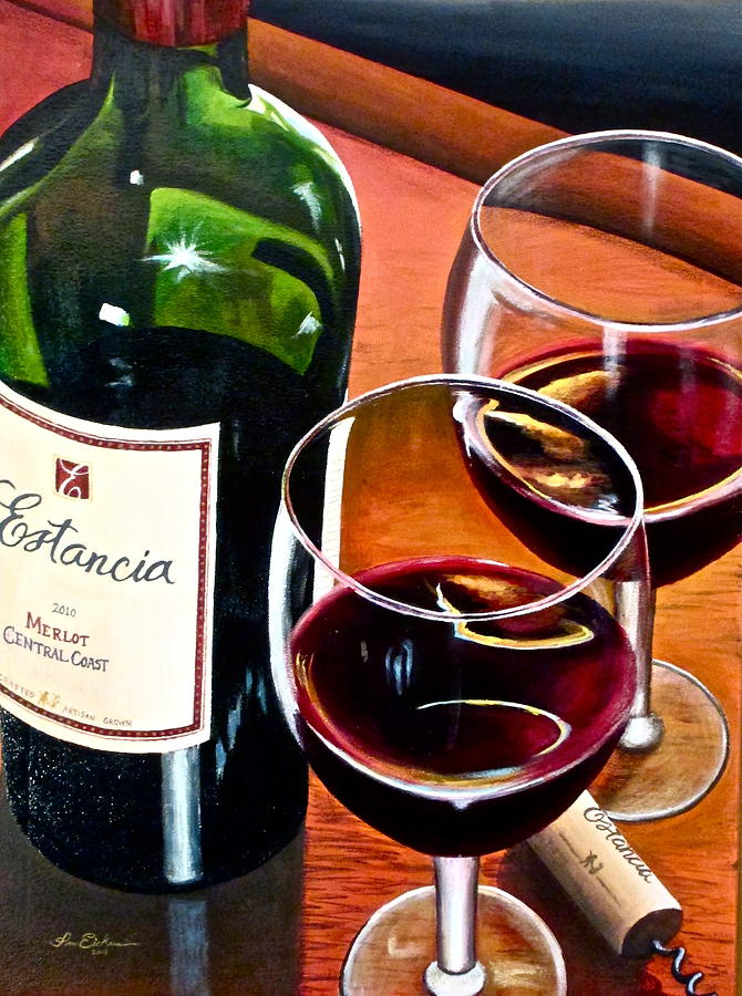 Wine Bottle Paintings Painting - Party Of Two by Tim Eickmeier