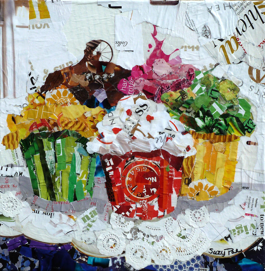 Torn Paper Collage Painting - Party Time by Suzy Pal Powell