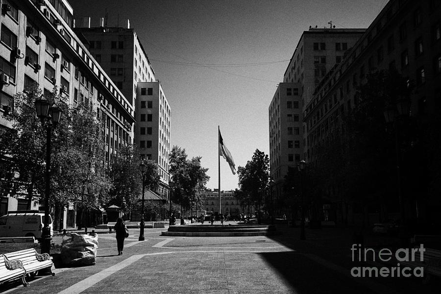 Paseo Photograph - paseo bulnes looking towards bulnes square and la moneda palace Santiago Chile by Joe Fox