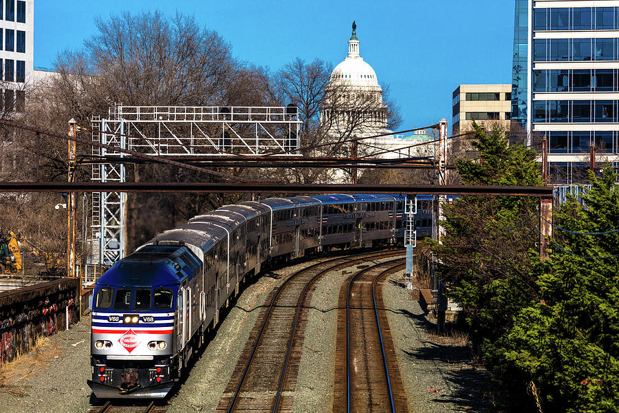 Horizontal Photograph - Passenger Metro Train With Us Capitol by Panoramic Images