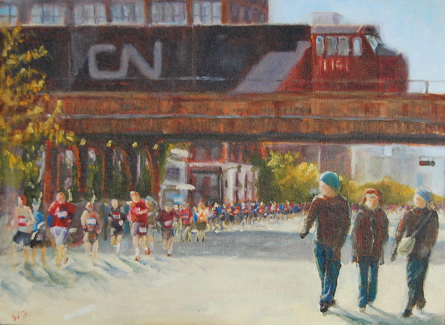 Chicago Marathon Painting - Passing By by Will Germino