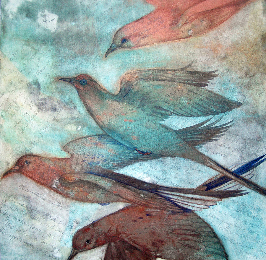 Bird Painting - Passing I by Helen Klebesadel