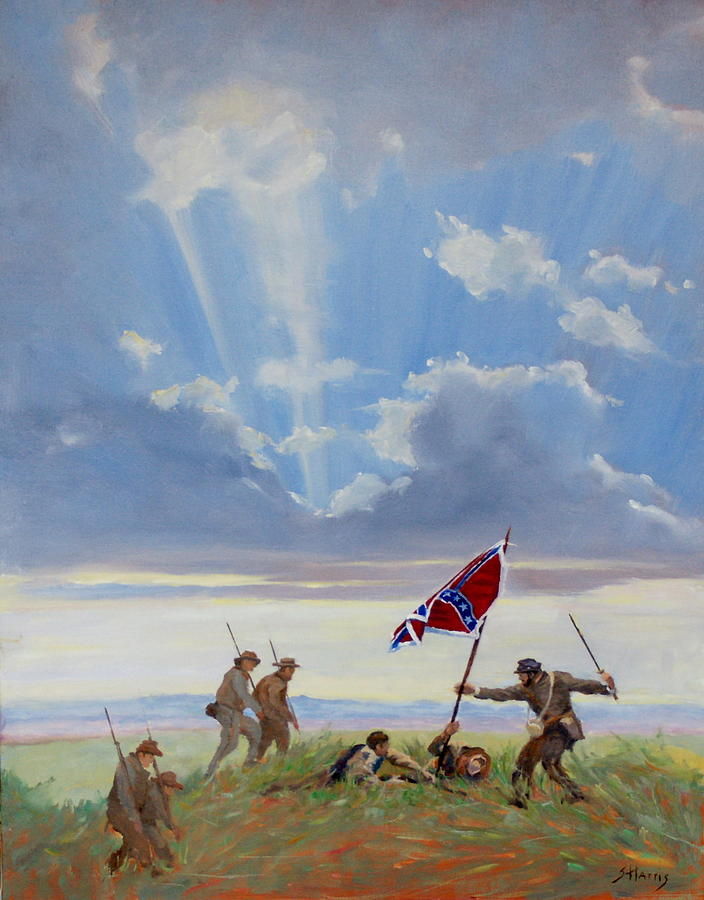 Civil War Painting - Passing On The Blood Stained Banner by Sandra Harris