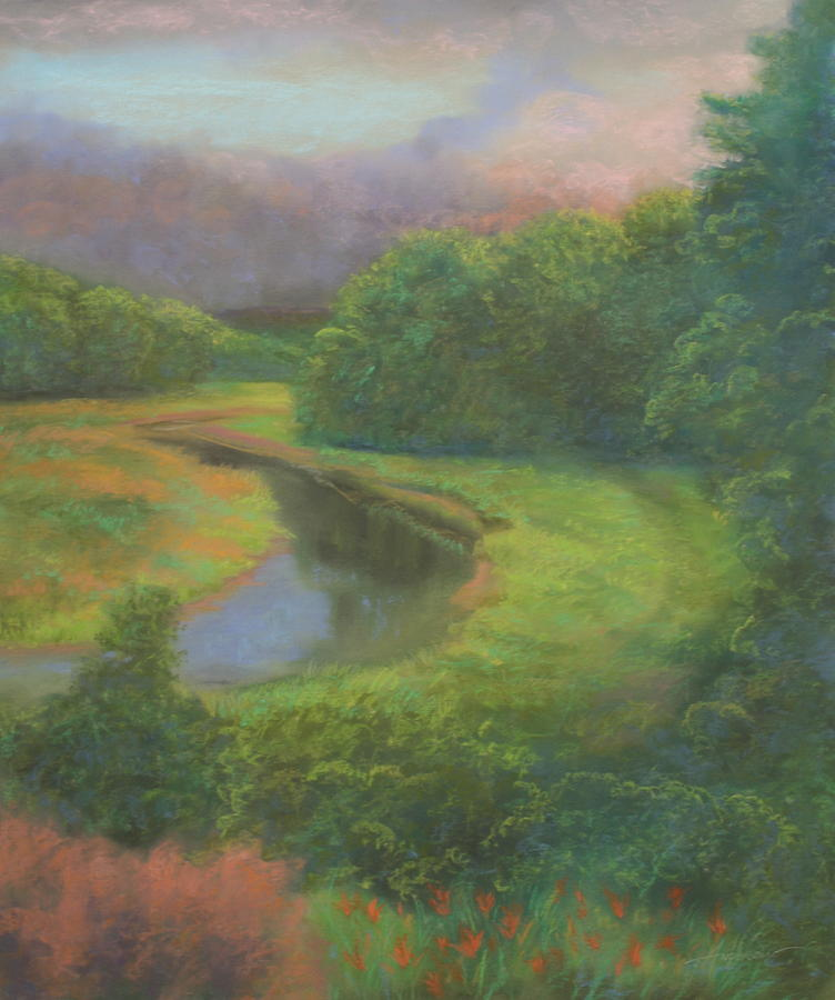 Landscape Pastel - Passing Storm at Catfish Corner by Sherri Anderson