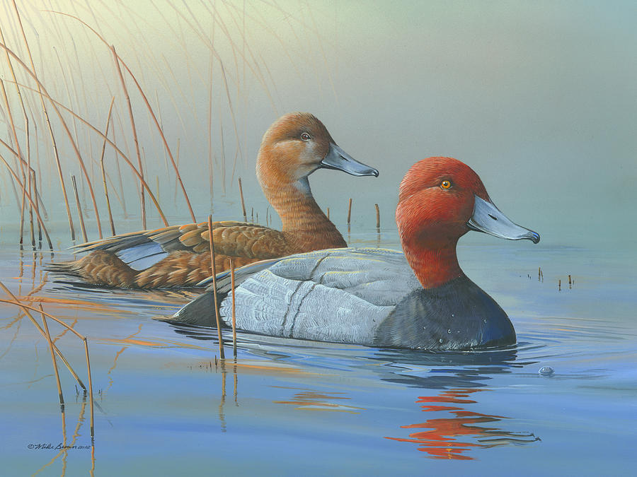 Red Heads Painting - Passing Through by Mike Brown