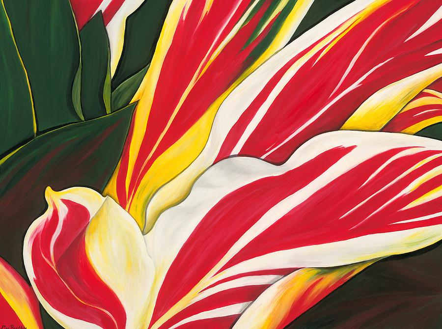 Red And Yellow Variegated Leaves Painting - Passion Painting by Lisa Bentley