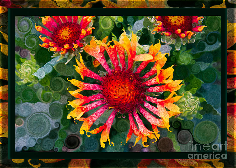 Bold Painting - Passionate Pinwheels And Blooming Abstract Flower Art by Omaste Witkowski