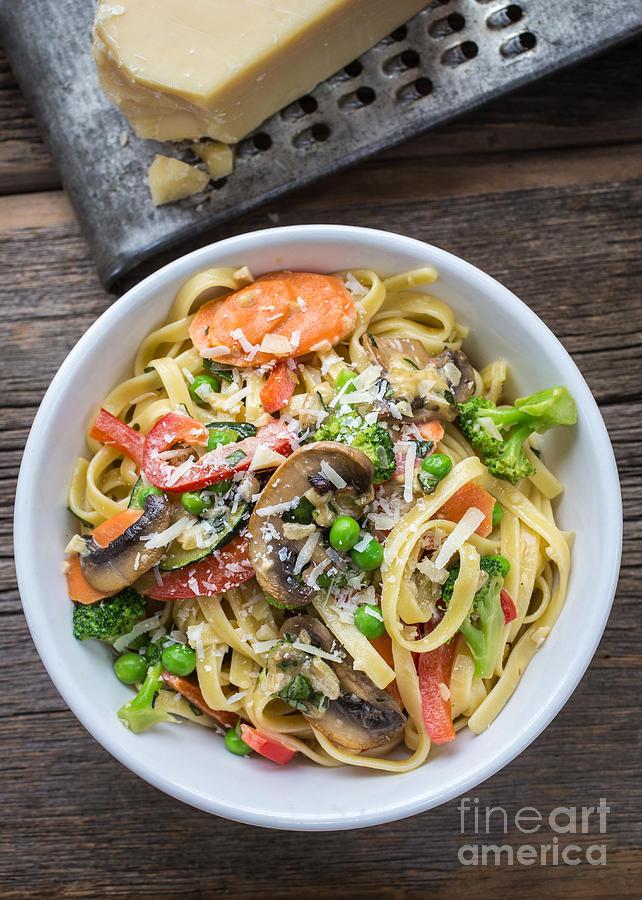 Food Photograph - Pasta Primavera Dish by Edward Fielding