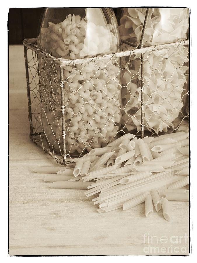 Basket Photograph - Pasta Sepia Toned by Edward Fielding