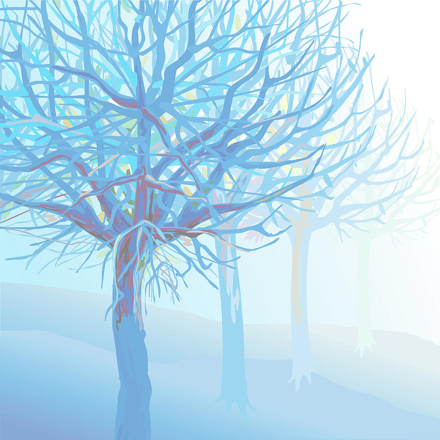 Pastel Blue Trees And Branches In Foggy Digital Art by Charles Harker