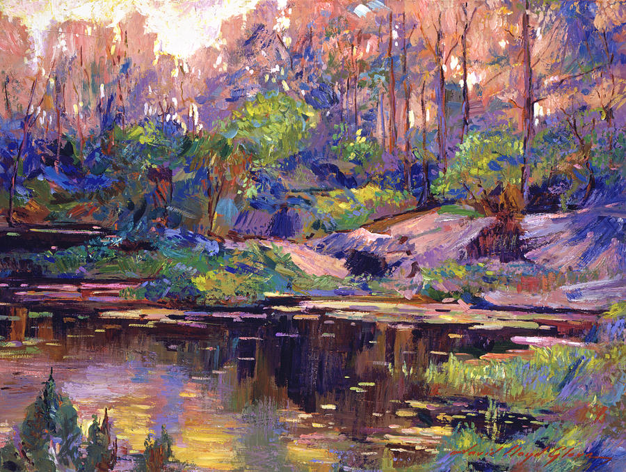 Landscape Painting - Pastel Lake At Dawn by David Lloyd Glover