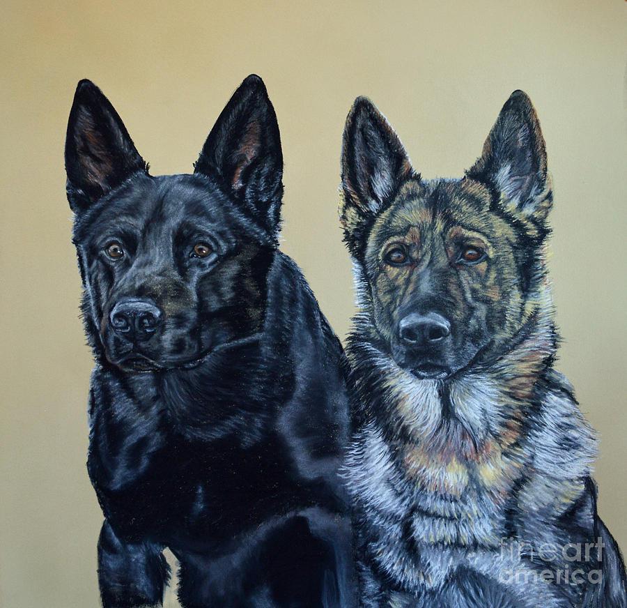 German Shepherd Pastel - Pastel Portrait Of Two German Shepherds by Ann Marie Chaffin