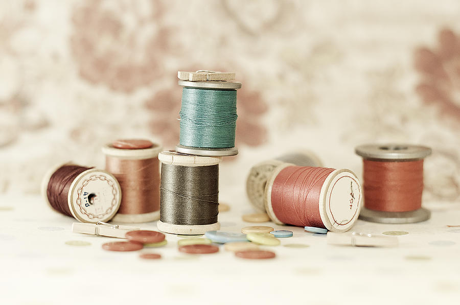 Fine Art Photograph - Pastel Threads And Buttons by Sofia Walker