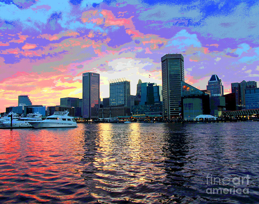 Pasterl Baltimore Harbor Sunset by Larry Oskin