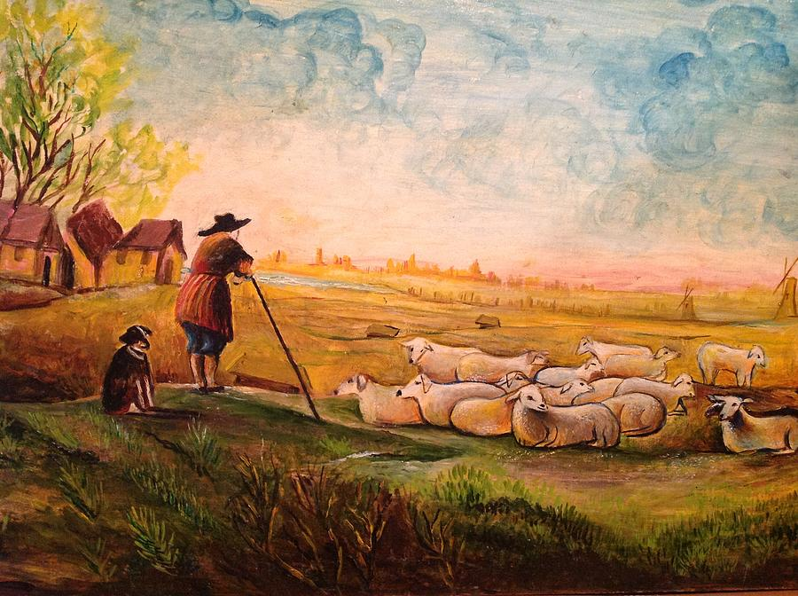 Sheep Painting - Pastoral Landscape by Egidio Graziani