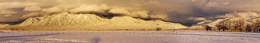 Color Image Photograph - Pasture Land Covered In Snow At Sunset by Panoramic Images