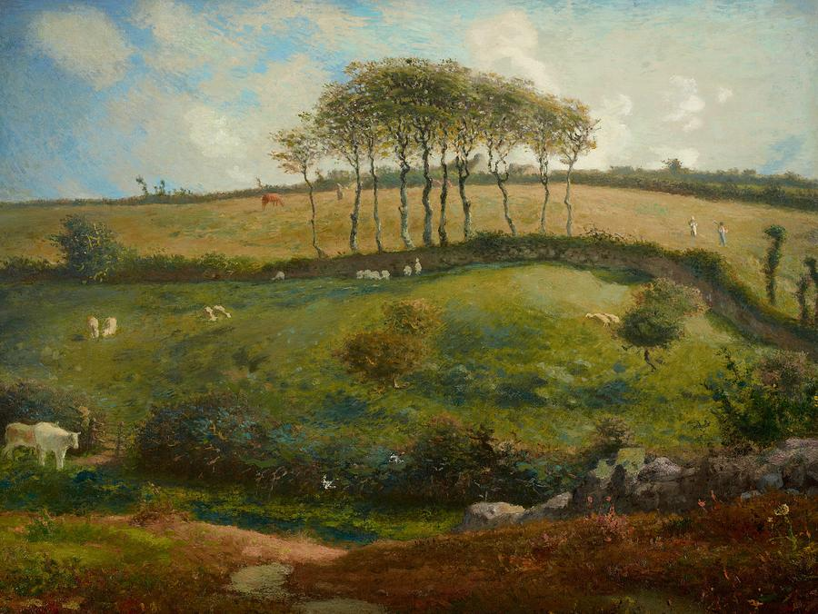 Idyll Painting - Pasture Near Cherbourg by Jean-Francois Millet