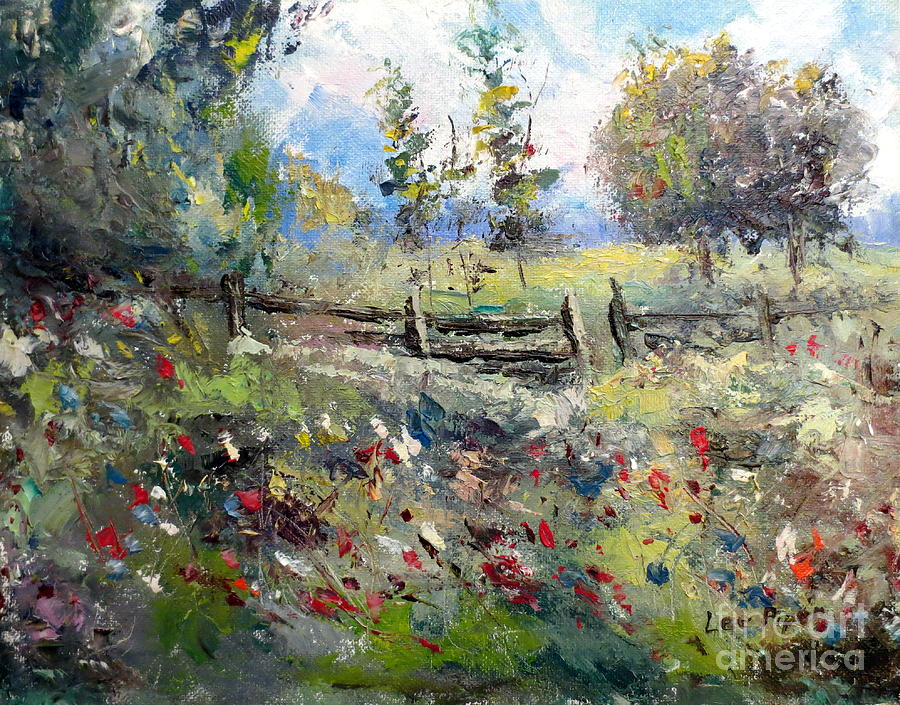 Lee Piper Painting - Pasture With Fence by Lee Piper